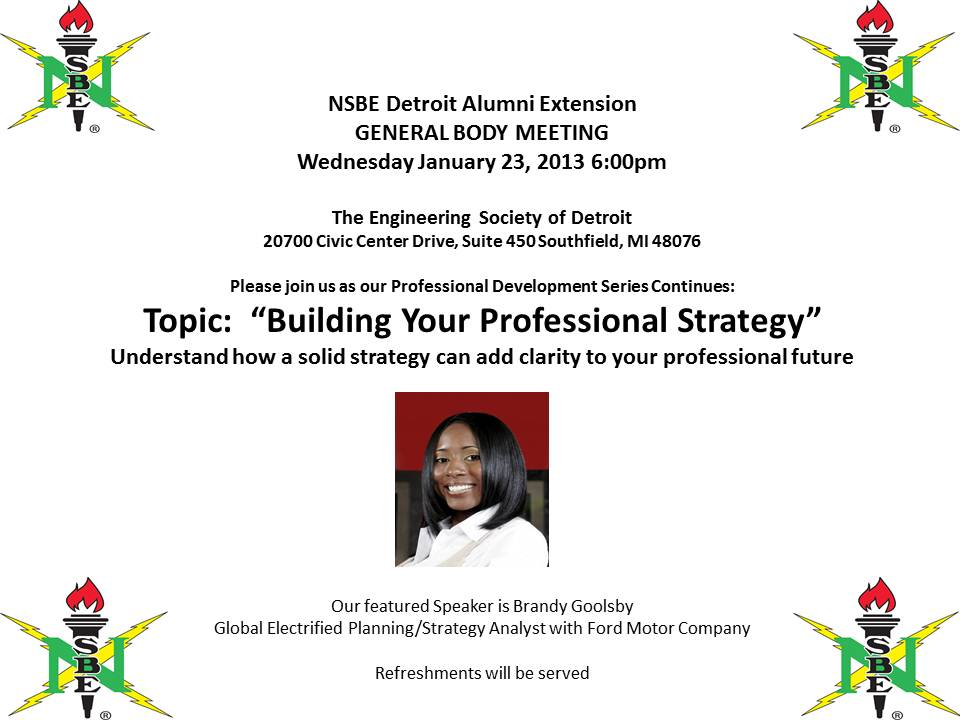 General Body Meeting – January 23, 2013 – NSBE Detroit